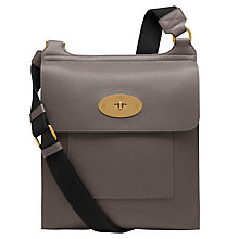 Buy Mulberry Antony Leather Messenger Across Body Bag, Dark Grey Online at johnlewis.com