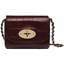 Buy Mulberry New Mini Lily Deep Embossed Croc Shoulder Bag, Oxblood Online at johnlewis.com
