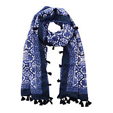 Buy Oasis Tile Print Tassel Scarf, Mid Blue Online at johnlewis.com