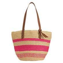 Buy Jigsaw The Basket Room Woven Shopper Bag, Pink Online at johnlewis.com