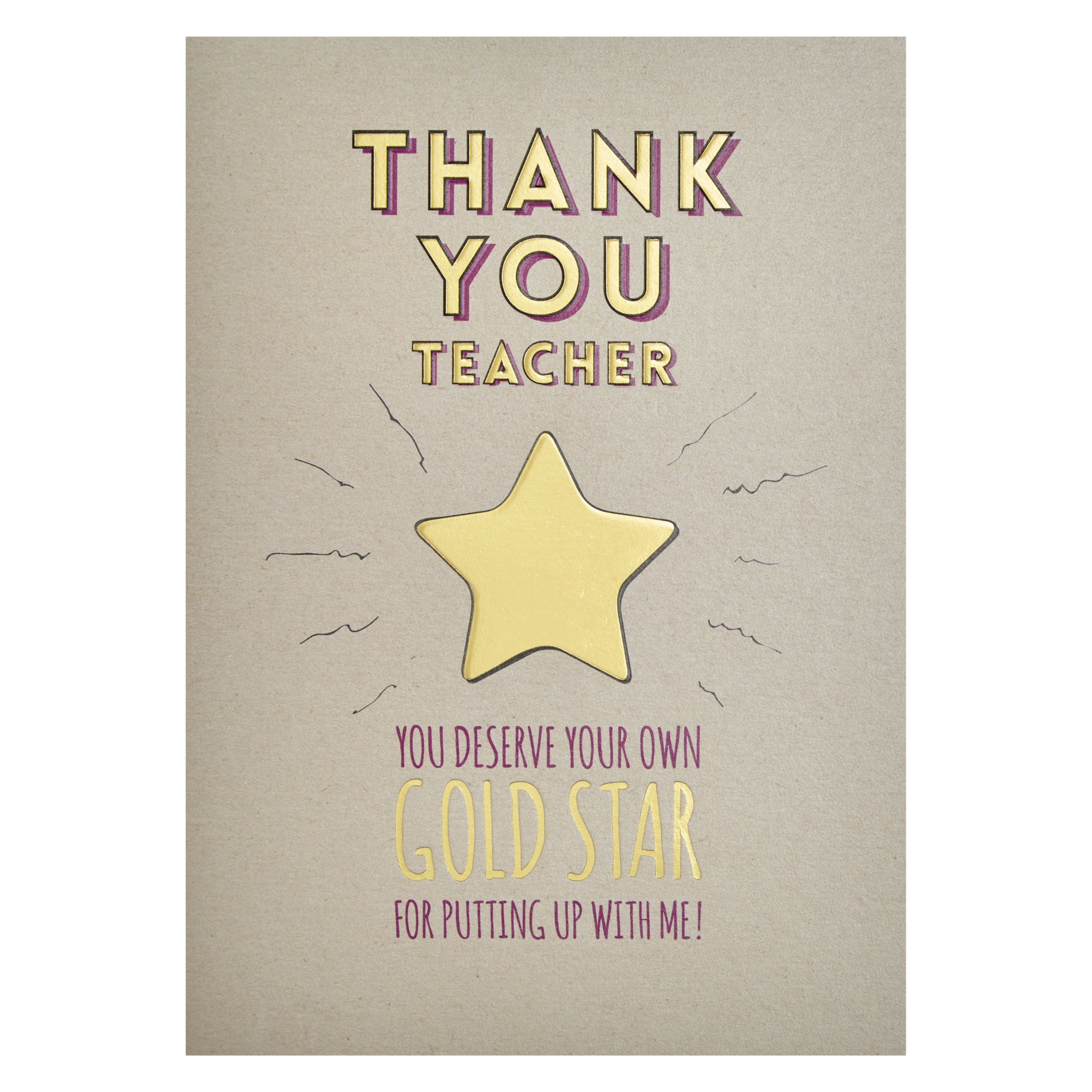 Art File Art File Gold Star Thank You Teacher Card