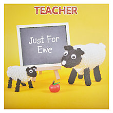 Buy Mint Just For Ewe Teacher Card Online at johnlewis.com