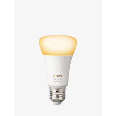 Philips Hue White Ambiance Wireless Lighting LED Light Bulb, 9.5W A60 E27 Edison Screw Bulb, Single
