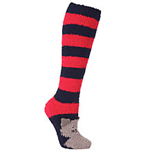 Buy John Lewis Fluffy Cat Knee High Socks, Navy/Red Online at johnlewis.com