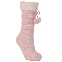 Buy John Lewis Twisted Glitter Knitted Bootie Socks, Pale Pink Online at johnlewis.com