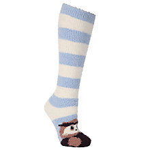 Buy John Lewis Fluffy Owl Knee High Socks, Blue/Cream Online at johnlewis.com
