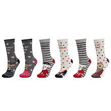 Buy John Lewis Novelty Slogans Ankle Socks, Pack of 3, Multi Online at johnlewis.com