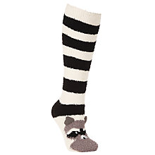 Buy John Lewis Raccoon Fluffy Knee High Socks, Black/White Online at johnlewis.com