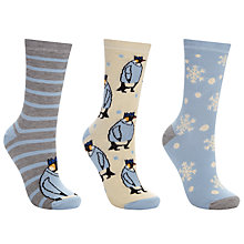Buy John Lewis Penguin Jumpers Ankle Socks, Pack of 3, Snow Blue/Multi Online at johnlewis.com