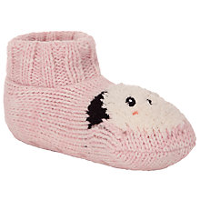 Buy John Lewis Knitted Panda Bootie Socks, Pink Online at johnlewis.com