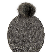 Buy John Lewis Luxe Pom Pom Beanie Hat, Grey Online at johnlewis.com