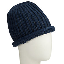 Buy John Lewis Metallic Linear Beanie Hat, Navy Online at johnlewis.com