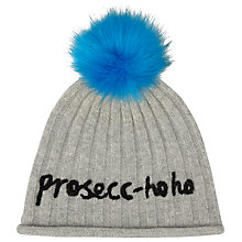 Buy John Lewis Prosecco Slogan Pom Pom Beanie Hat, Grey/Electric Blue Online at johnlewis.com