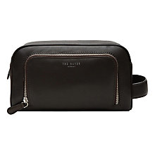 Buy Ted Baker Dotstop Leather Wash Bag, Chocolate Online at johnlewis.com