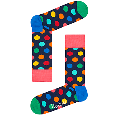 Happy Socks Big Dot Socks, One Size, Navy Multi