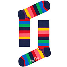 Buy Happy Socks Bright Stripe Socks, One Size, Multi Online at johnlewis.com