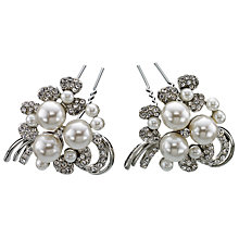 Buy John Lewis Large Diamante and Faux Pearl Hair Pin, Pack of 2, Silver Online at johnlewis.com