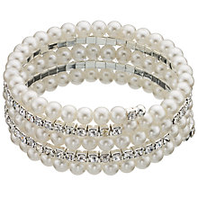 Buy John Lewis Spiral Faux Pearl and Cubic Zirconia Stretch Bracelet, White/Silver Online at johnlewis.com