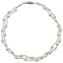 Buy John Lewis Faux Pearl and Bead Magnetic Clasp Necklace, White Online at johnlewis.com