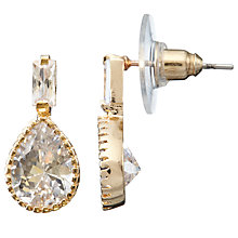 Buy John Lewis Pear Shape Glass Drop Earrings, Rose Gold Online at johnlewis.com