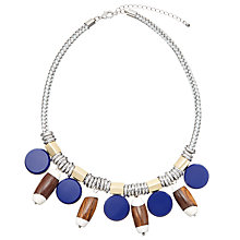 Buy John Lewis Circle and Wood Bead Collar Necklace, Silver/Blue Online at johnlewis.com