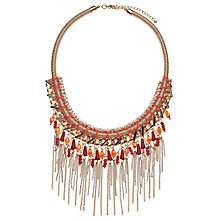 Buy John Lewis Woven Tassel Coral Collar Necklace, Coral/Gold Online at johnlewis.com