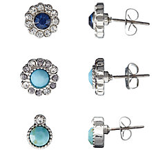 Buy John Lewis Diamante Stud Earrings, Pack of 3, Silver/Blue Online at johnlewis.com