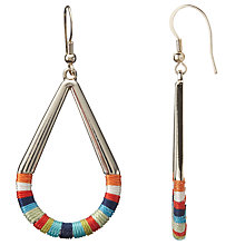 Buy John Lewis Thread Wrap Open Teardrop Earrings, Gold/Multi Online at johnlewis.com