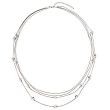 Buy John Lewis Long Layered Clear Bead Necklace, Silver Online at johnlewis.com