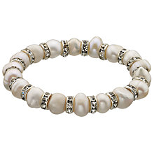Buy John Lewis Faux Pearl Diamante Rondel Stretch Bracelet, White Online at johnlewis.com