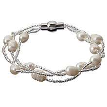 Buy John Lewis Faux Pearl and Bead Magnetic Clasp Bracelet, White Online at johnlewis.com