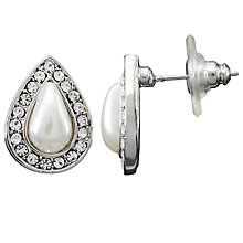 Buy John Lewis Faux Pearl and Diamante Teardrop Stud Earrings, Silver Online at johnlewis.com