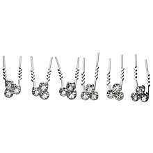 Buy John Lewis 3 Cubic Zirconia Hair Pin, Pack of 6, Silver Online at johnlewis.com