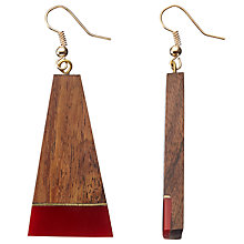 Buy John Lewis Wooden Resin Drop Earrings, Brown/Red Online at johnlewis.com