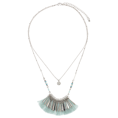 John Lewis Double Chain Tassel Necklace, Silver/Ice Blue