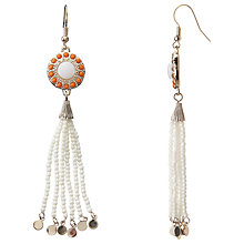 Buy John Lewis Seedbead Tassel Drop Earrings, White Online at johnlewis.com