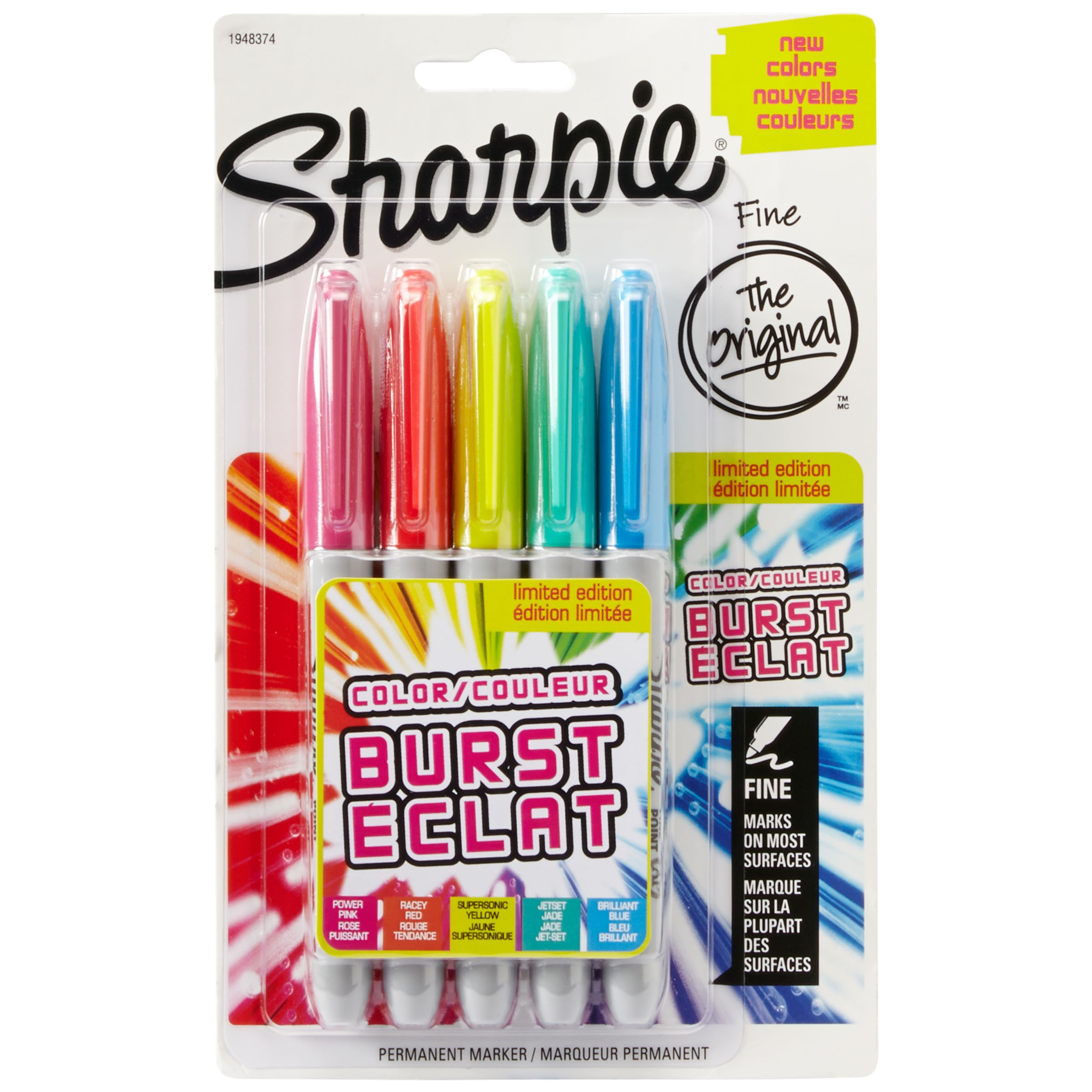 Sharpie Sharpie Colour Burst Fine Markers, Pack of 5