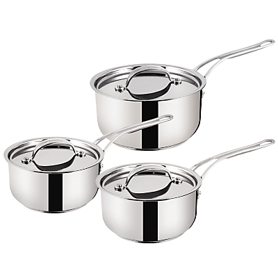Jamie Oliver by Tefal Stainless Steel 3 Piece Saucepan Set