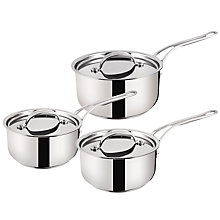 Buy Jamie Oliver by Tefal Stainless Steel 3 Piece Saucepan Set Online at johnlewis.com