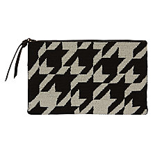 Buy Jaeger Laboratory Houndstooth Clutch Bag, Black/White Online at johnlewis.com