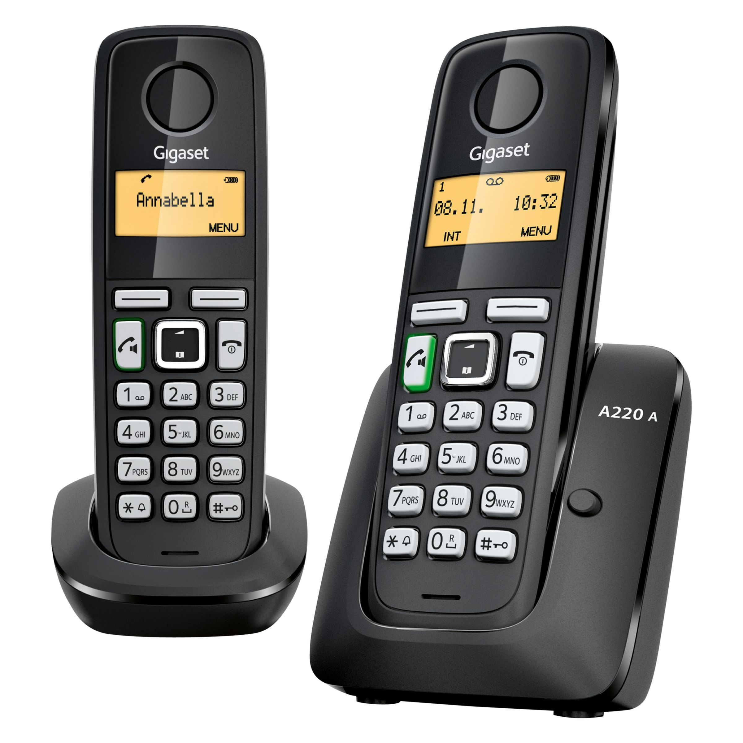 Gigaset Gigaset A220A Digital Cordless Telephone with Answering Machine, Duo DECT, Black
