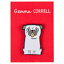 Buy Gemma Correll Pug Pin Badge Online at johnlewis.com