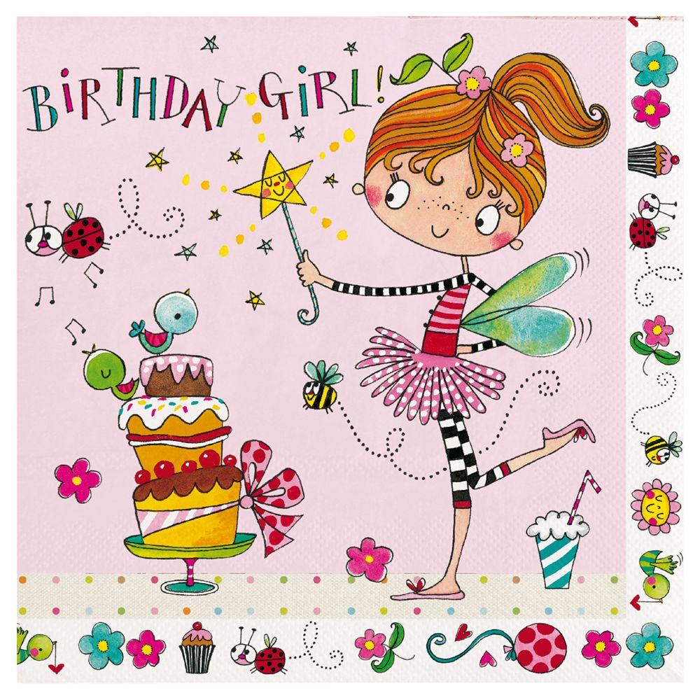 Rachel Ellen Rachel Ellen Fairy Birthday Girl Napkins, Pack of 20