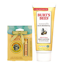 Buy Burt's Bees Naturally Nourishing Milk & Honey Body Lotion, 170g: With FREE Gift Online at johnlewis.com