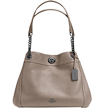 Buy Coach Turnlock Edie Leather Shoulder Bag, Fog Online at johnlewis.com