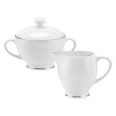 Royal Worcester Serendipity Platinum Bone China Sugar Pot & Creamer, White/ Silver