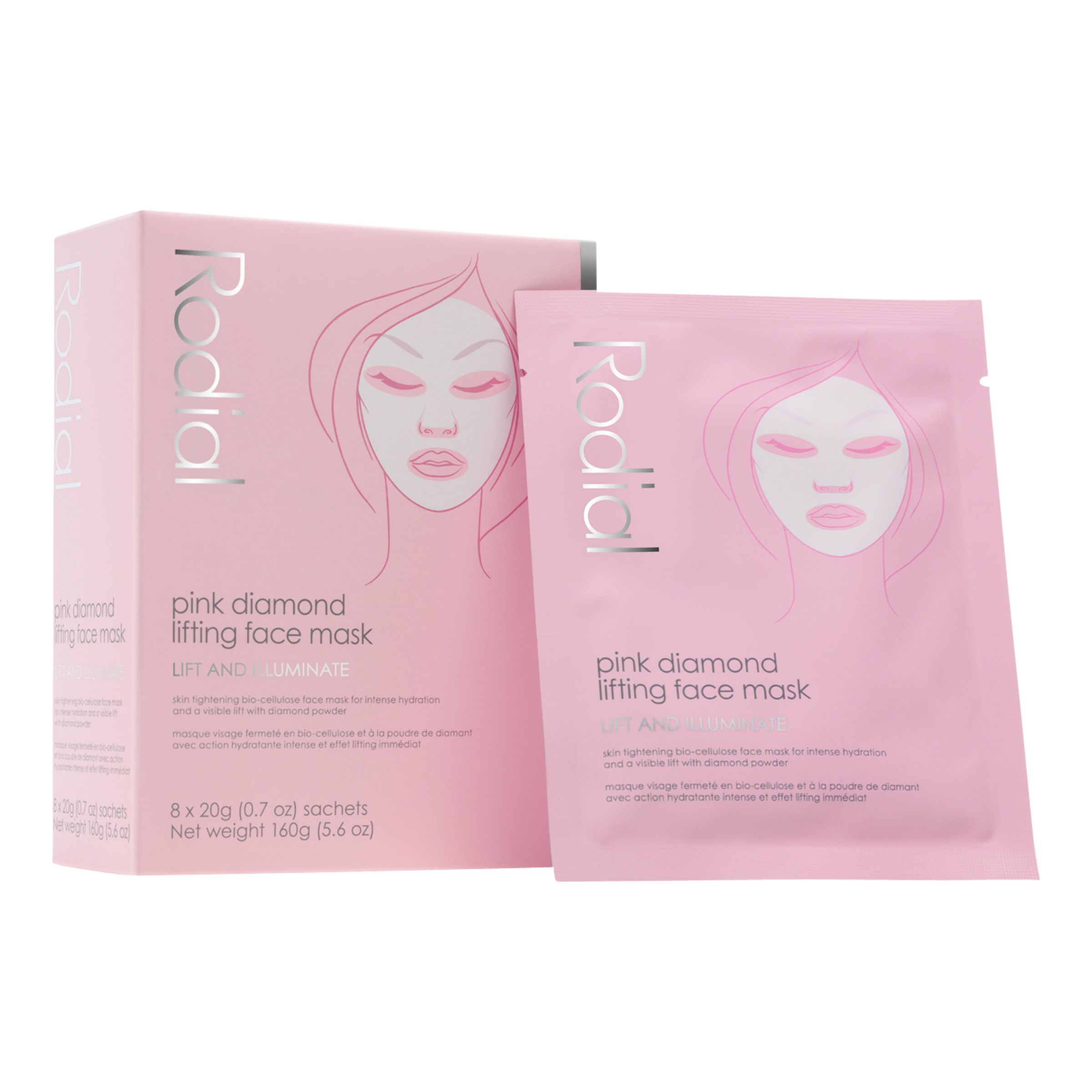 Rodial Rodial Pink Diamond Lifting Face Mask, 8 x 20g