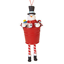 Buy John Lewis Grand Tour Claydough Snowman In Bucket Tree Decoration Online at johnlewis.com