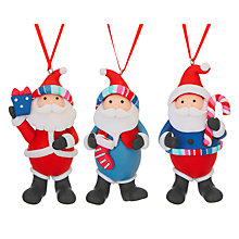 Buy John Lewis Grand Tour 3D Jolly Santas Hanging Decorations, Assorted Designs Online at johnlewis.com