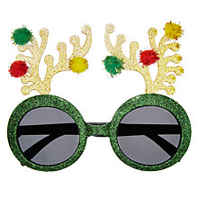 Buy John Lewis Pompom Novelty Glasses, Green Online at johnlewis.com